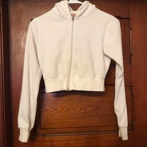 Forever 21 White Long Sleeve Crop Zip-Up Hoodie